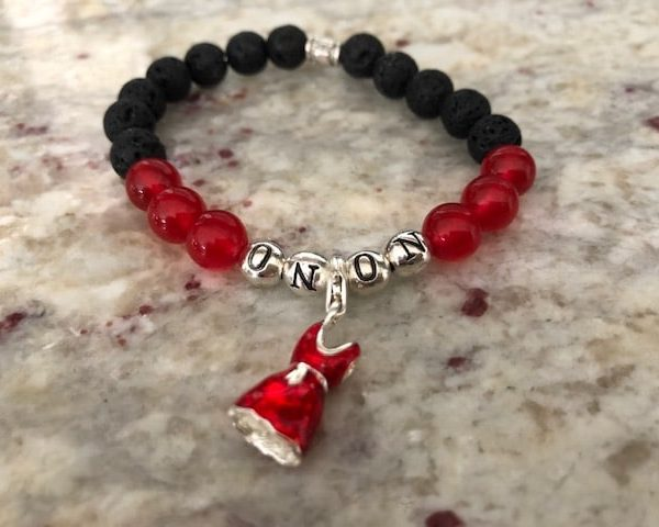 Lava Rock Bracelet On On with Rubies and Red Dress Charm 1